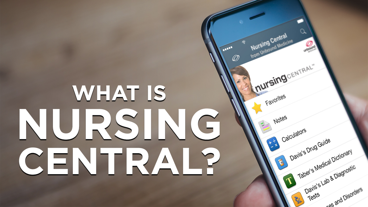 An overview of the Nursing Central app featuring Davis's Drug Guide, Taber's Medical Dictionary, Diseases and Disorders, Davis's Laboratory and Diagnostic Tests, and other helpful tools and features.